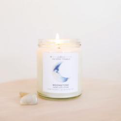 Shop ReAwaken | Moonstone Crystal Candle - Brings Good Luck | JaxKelly